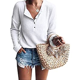 Women's Henley Shirts V Neck Long Sleeve Button Down Tops Warm Waffle Knit Tees