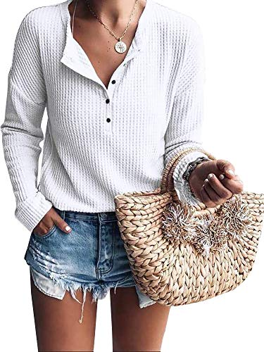 Womens Henley Shirts V Neck Long Sleeve Button Down Tops Knit Tees (Medium, Z White)
