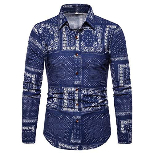 (Mens Casual Printed Shirts Long Sleeve Paisley Funky Printed Linen Shirt Button Down Dress Shirt Tops Unique Pattern Blue)