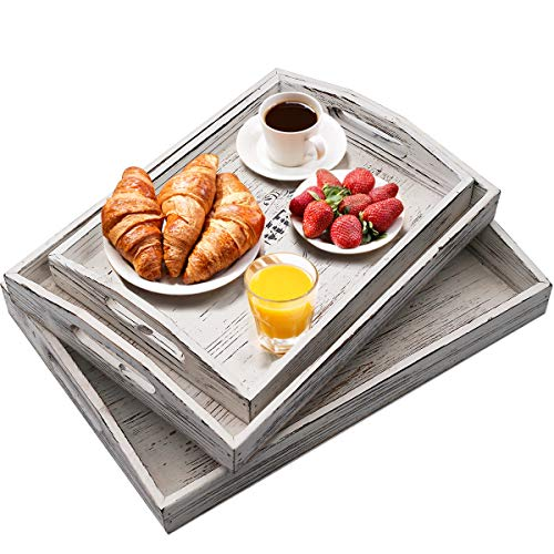 (Wood Serving Tray Nesting Decorative Trays Set of 3 with Cutout Handles for Breakfast, Bar, Coffee Table)