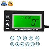 Foundown 28 Multifunction Hour Meter Backlit Tachometer Voltmeter with Clock 2 & 4 Stroke Inductive hour meter for Small Engine Boat Outboard Mercury Motocross Motorcycle Lawn Mower Generato