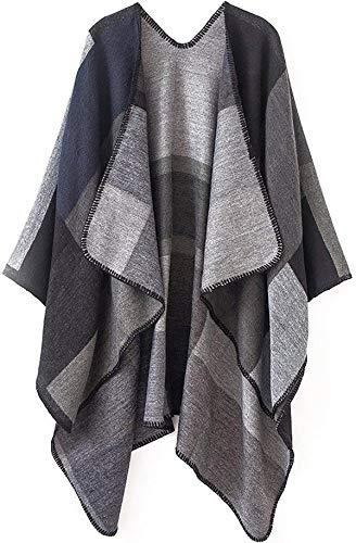 Women Plaid Shawls and Wraps,Winter Poncho Cape,Soft Cashmere Cloak,Oversized Long Cardigan Sweaters(Black)