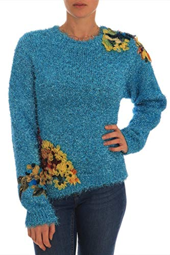 Dolce & Gabbana Blue Knitted Floral Applique Sweater