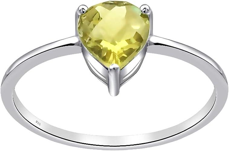 925 Sterling Silver Wedding Engagement Ring 2.80 Ct Genuine Lemon Quartz Band