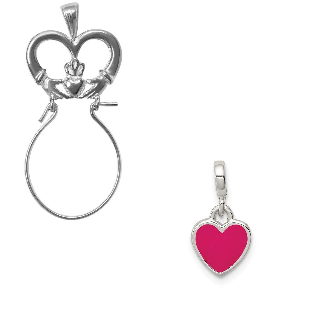 Mireval Sterling Silver Pink Enamel Heart Enhancer on an Optional Charm Holder