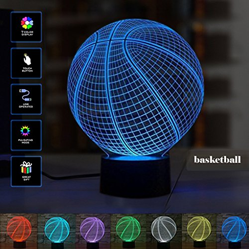 [New ] 3D Illusion Lamp- Modern Baseball Mood Lamp - 3D Night Light 7 LED Light Colors Optical Illusion with USB Cable Smart Touch Button Control, Creative Gift Toys Decorations ()