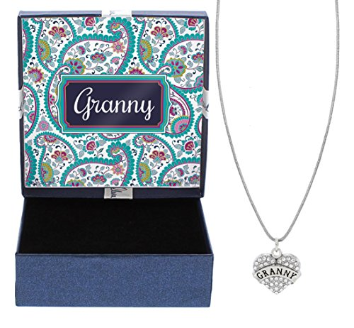 (Granny Silver-Tone Crystal Adorned Heart Shaped Charm Cable Chain Necklace Paisley Gift Box Birthday Gifts Granny Necklace Granny Jewelry)
