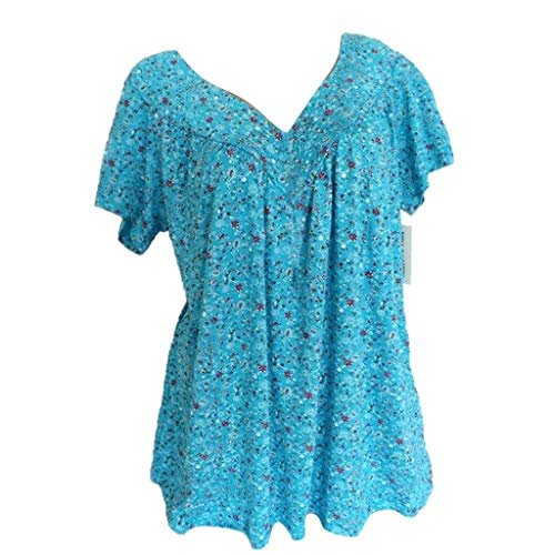 Dressin T Shirt for Women, Ladies Floral Print Loose Flowy Tees Blouse Top Deep V Short Sleeve Casual Tops T-Shirt Sky Blue ()