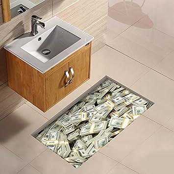 KingFly PAG 3D Badezimmer Wasserdicht Euro Muster Boden Aufkleber  Rutschfeste Waschbar Dusche Room Decor