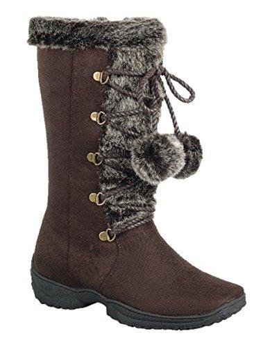 Dev Mujeres Faux Suede Flat Heel Pom-pom Mid Becerro Forro De Piel Lace Up Snow Bota Marrón / Emily-9