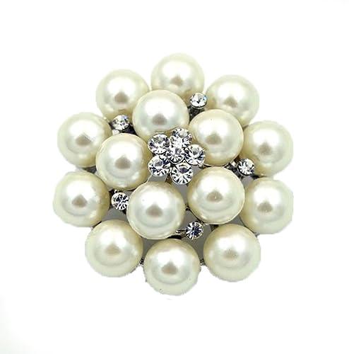 Klaritta Silber Ivory Weiss Perlen Blume Braut Hochzeit Corsage