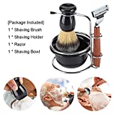 Mens Shaving Kit, 4 Piece - Includes Manual Razor + Stainess Steel Stand Holder + Shaving Brush+ Shaving Bowl, Great shaving kits for your Man, Husband, Father or Brother