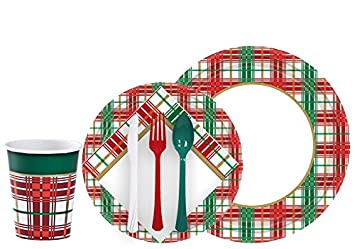 Tiger Chef Christmas Plaid Dinnerware Party Supplies Set for 24 Includes Paper Plates Holiday  sc 1 st  Amazon.com & Amazon.com: Tiger Chef Christmas Plaid Dinnerware Party Supplies Set ...