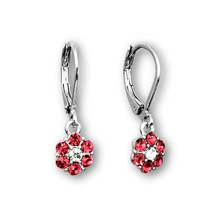 Girls Crystal Flower Earrings Rhodium Plated Dangle Earrings Fashion Jewelry for Girls