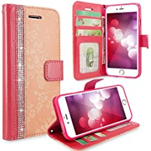 iPhone 6 Plus / 6s Plus Case, Cellularvilla [Stand Feature] Flower Texture [Diamond] Premium Wallet Case [3 Card Slots] Flip Cover For Apple iPhone 6 Plus / iPhone 6S Plus 5.5 inch (Peach Pink Bling)