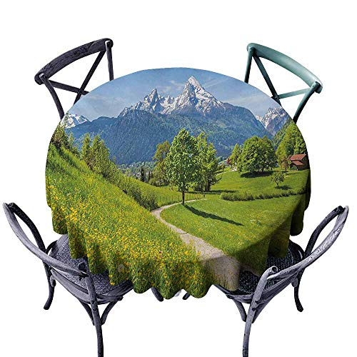 VIVIDX Tablecloth for Kids/Childrens,Landscape,Wildflowers in The Alps and Snow-Capped Mountains National Park Bavaria Germany,High-end Durable Creative Home,55 INCH,Yellow Green ()