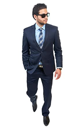 Slim Fit Men Suit 2 Button Navy Blue Notch Lapel Flat Front Pants ...