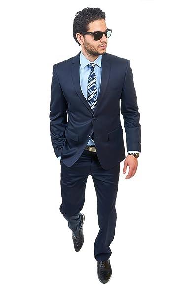 Slim Fit Men Suit 2 Button Navy Blue Notch Lapel Flat Front Pants ...