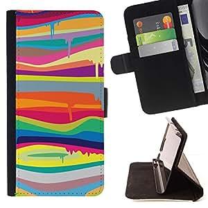 For HTC One Mini 2 M8 MINI Case , Colores de fusión Moderno Arte Pintura- la tarjeta de Crédito Slots PU Funda de cuero Monedero caso cubierta de piel