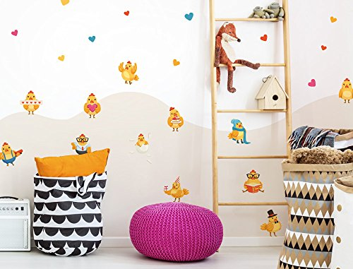 (I-love-Wandtattoo WAS-12696 Children's room wall tattoo set ''Sweet chicks as a chicken family with hearts and playful decorations'' boys room girls room deco figures baby room garden animals)