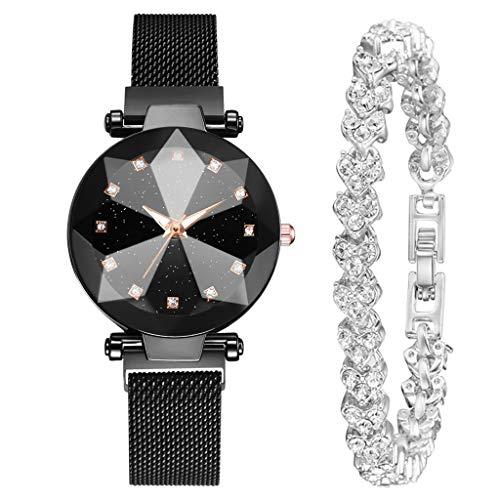 WUAI Women's Watch Gift Set,Fashion Luxury Brand Romantic Quartz Watch Crystal Bracelet with Gift ()