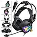 SADES SA913 USB PC Gaming Headset Stereo Surround Sound Over Ear Headphones with Microphone Vibration Volume Controller Multi-Color LED light for Gamers(Black)