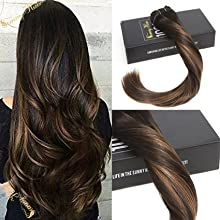Sunny 14inch Clip in Hair Extensions Darkest Brown Highlight with Medium Brown Balayage Remy Clip in Extensions 7pcs 120g Per Pack