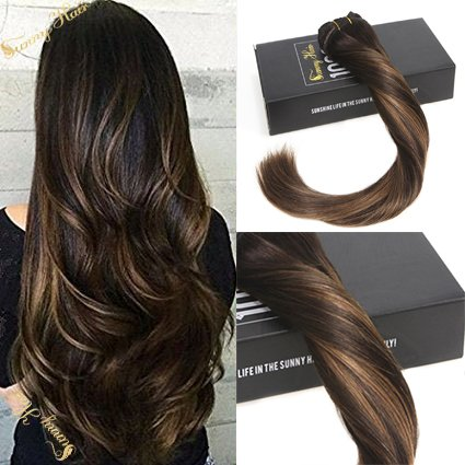Sunny 14inch Full Head Clip in Extensions Human Hair Darkest Brown mixed Dark Brown Balayage Remy Clip in Hair Extensions Double Weft 7pcs 120g Per Pack