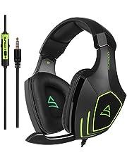 SUPSOO Casque Gaming PS4, G820 Casque Xbox One 3.5mm Micro Premium Anti-Bruit Audio Stéréo Basse avec Jeux Vidéo Gaming Parfait pour PC Laptop Tablette et Téléphones Mobiles(Noir et Vert)