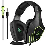 SUPSOO G820 gaming headset for New Xbox One, PS4 controller,3.5mm wired Over-ear Noise Isolating Microphone Volume Control for Mac / PC/ Laptop / PS4/Xbox one -Black