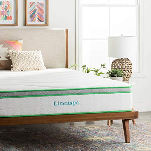 LINENSPA 10 Inch Latex Hybrid Mattress – Supportive – Responsive Feel – Medium Firm – Temperature Neutral – Queen