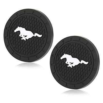 Shenwinfy 2.75 Inch Car Interior Accessories Anti Slip Mat for Mustang, Cup Holder Coaster Auto Interior Decoration Pad(2 PCS): Automotive