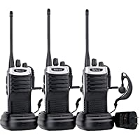 Retevis RT7 Walkie Talkies 16 CH UHF 400-470MHz FM Radio VOX Scan Rechargeable Two Way Radio( Black Silver Side,3 Pack)