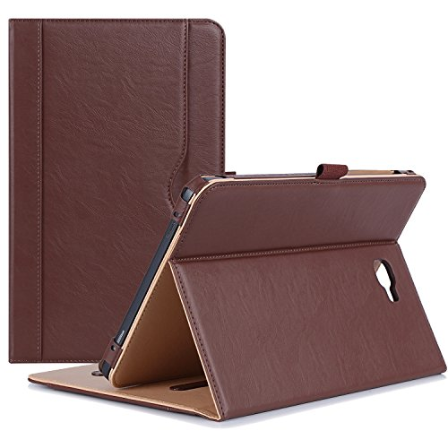 ProCase Samsung Galaxy Tab A 10.1 Case - Stand Folio Case Cover for Galaxy Tab A 10.1 Tablet SM-T580 T585 T587 (NO S Pen Version), with Multiple Viewing Angles, Document Card Pocket - Brown
