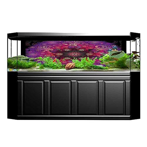 UHOO2018 Fish Tank Background Filigree Retro Floral Authentic Persian Elegance Culture Motif Fuchsia Hot Pink Maroon PVC Aquarium Decorative Paper 35.4