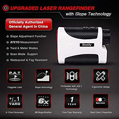 Bozily 900 Yards Laser Rangefinder 6X Magnification, Waterproof, 4 Scan Modes - Tournament Legal Golf Rangefinder by Bozily