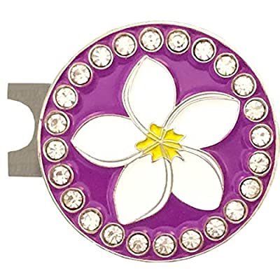 Giggle Golf Bling Plumeria Golf Ball Marker With A Standard Hat Clip