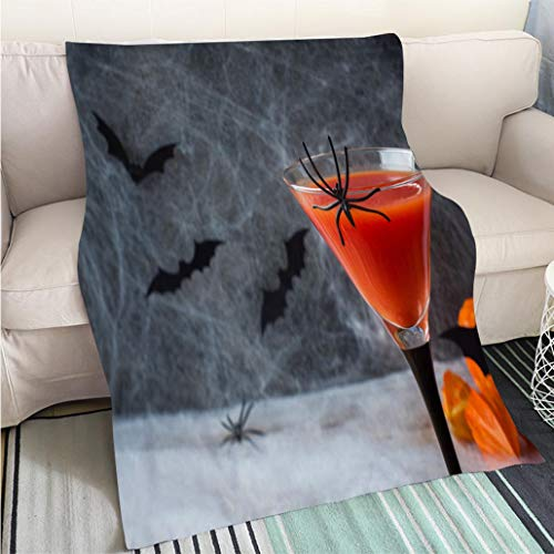 BEICICI Custom homelife Abstract Home Decor Printing Blanket Bloody Mary Cocktail Pumpkin with Bats and Spiders for Halloween Selective Focus Living Room/Bedroom Warm -