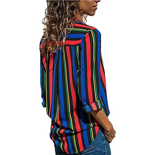 Beu Femme Printemps Decha Top Chemisier Chic et Cou Chemise Manche Shirt V Automne Ray T Casual Blouse Rouge Longue Imprim Loose wqYrRYnB0