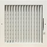Adjustable multi shutter damper ceiling or wall air register in white (12'' x 12'') (duct opening size)