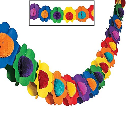 1pcs 9ft Long Tropical Multicolor Paper Tissue Flower Garland Novelty Banner for Luau Hawaiian Party Decorations, Birthdays, Event Supplies, Festivals, Children & Adults