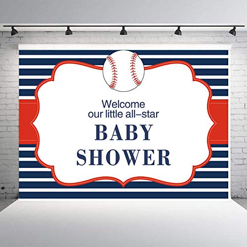 - Fanghui Navy Blue Striped Baseball Theme Photography Backdrops Welcome Our Little All Star Baby Shower Photo Background for Studio Birthday Party Decor Supply Booth Props 7x5FT Vinyl