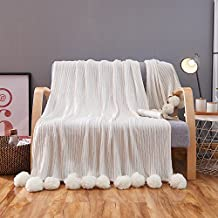 """ZHIMIAN Reversible 100% Cotton Knit Throws Pompoms Fringe Solid Hypoallergenic Blanket(39""""WX59""""L White)"""
