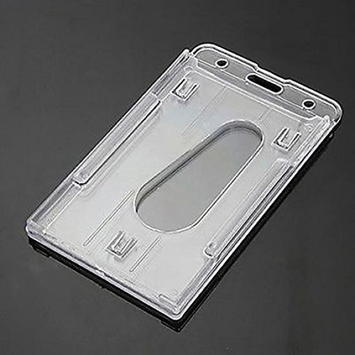 Plastic Clear Vertical Double-Side Business ID Card Holder Waterproof Name Badge Holder Protector Case Resealable Zipper for Office Company Employee School Student Bus Pass Id (Bus Card Case)