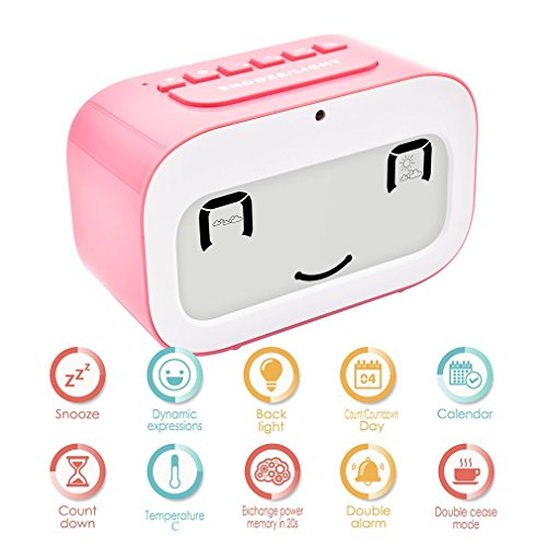 Alarm Clock, GEREE Cute Emoji desk clock Smart backlight / temperature/ Snooze Wake Up Alarm Clocks for Bedrooms, Office Desk Cube Alarm Clock Battery Operated Best Gift for Kids, Family (Pink)