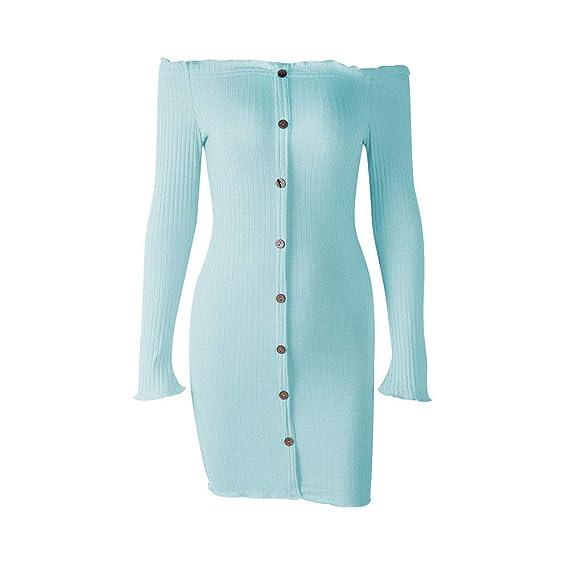 4393552e0c YpingLonk Falda Mujer Colores Lisos Backless Hombro sin Tirantes Backless  Collar de Una Palabra El Botón