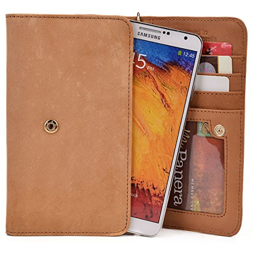 Kroo HTC U Play, One M9, M9+, A9, M8s, HTC Desire 610 612 616 620 626G+ 626s 628 Beige Genuine Leather Wallet with Strap and Coin Pocket [ LIMITED EDITION] - Cover Para Htc Desire 610