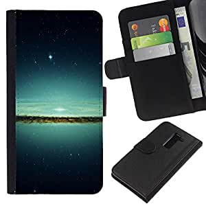 KingStore / Leather Etui en cuir / LG G2 D800 / Lake & Stars