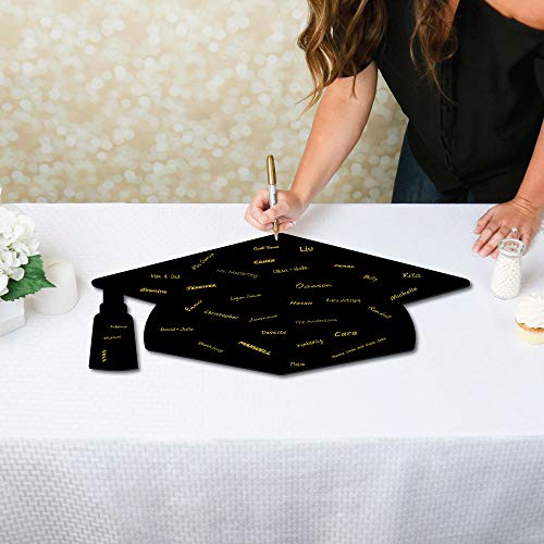 Big Dot of Happiness Signature Grad Cap - Shaped Guest Book Sign - Foam Board Graduation Party Guestbook Alternative - Grad -