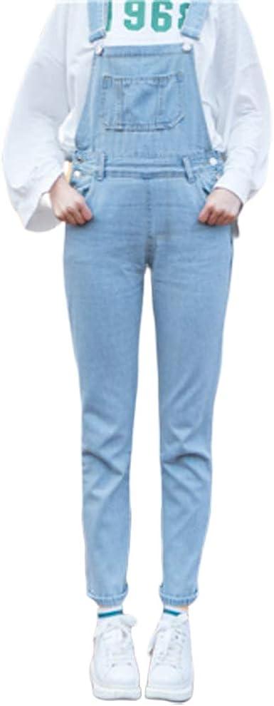 Crystallly Pantalon Moda Mujer Version E Elegante Invierno Otono Coreana Mujer Estilo Simple Cintura Alta Denim Babero Hebilla Slim Ligero Suelto Denim Nueve Pantalones Pies Pequenos Amazon Es Ropa Y Accesorios